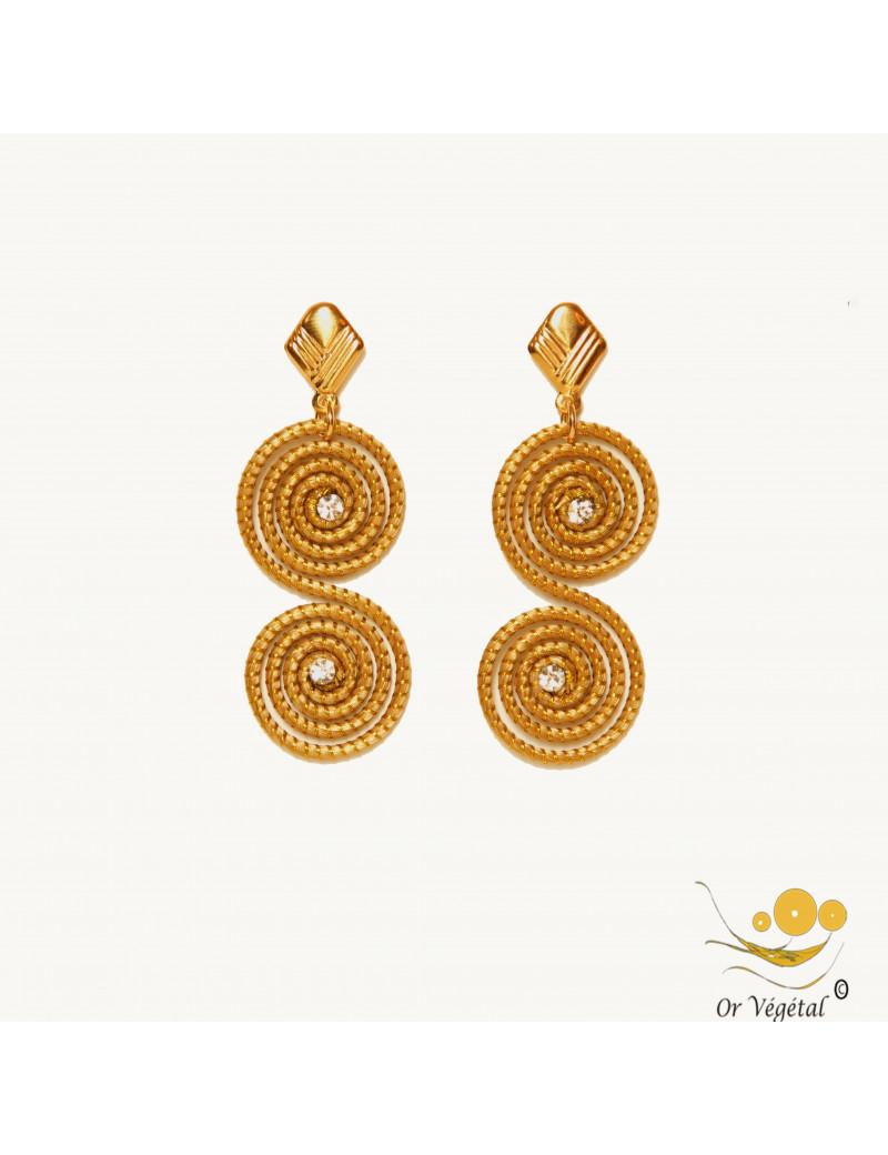Boucles d'oreilles en or végétal en forme de double spirale & strass