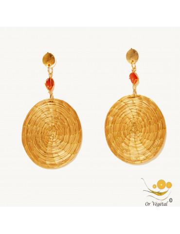 Boucles d'oreilles tressées en or végétal en mandala avec pierre semi précieuse