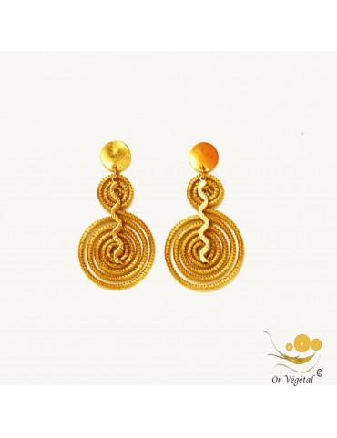 Boucles d'oreilles en or végétal cerclé en forme de double spirale