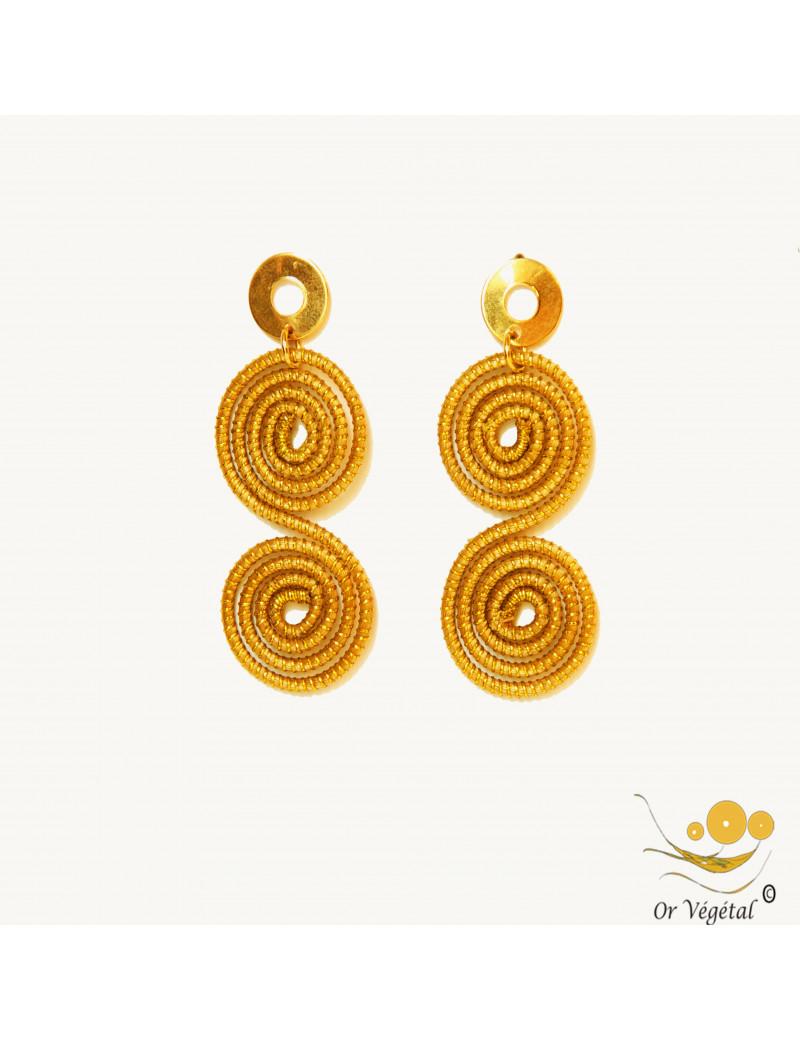 Boucles d'oreilles en or végétal double spirale