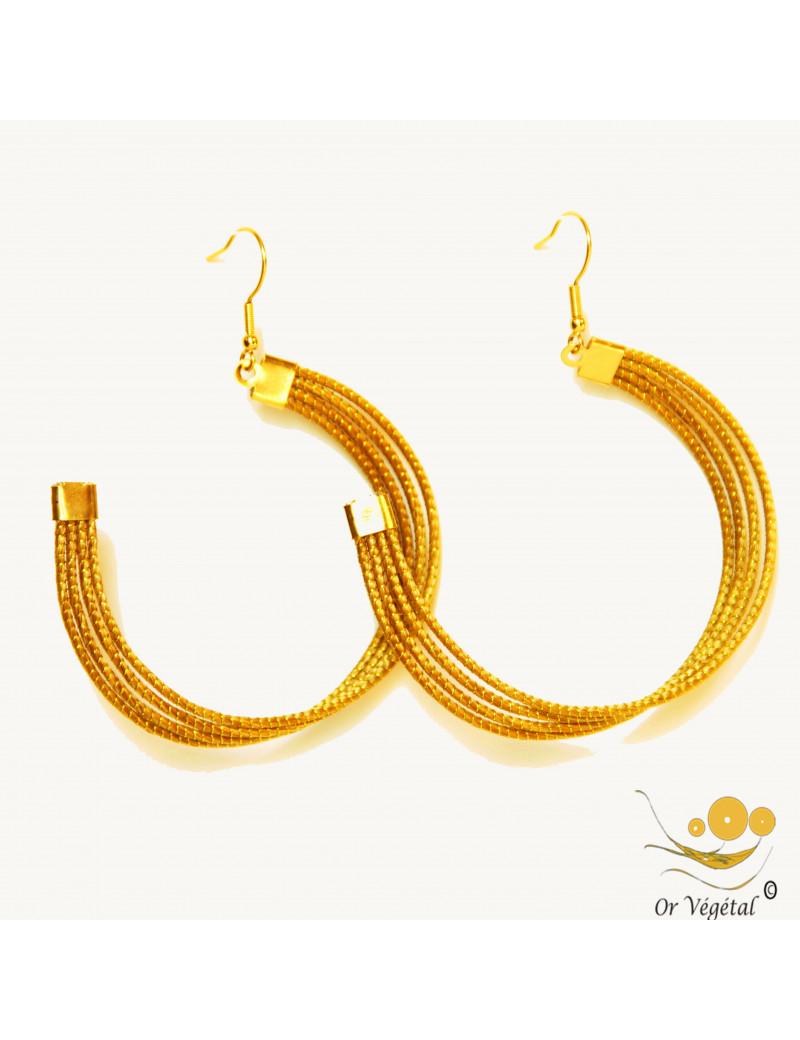 Boucles d'oreilles en or végétal en forme de créole vrillée