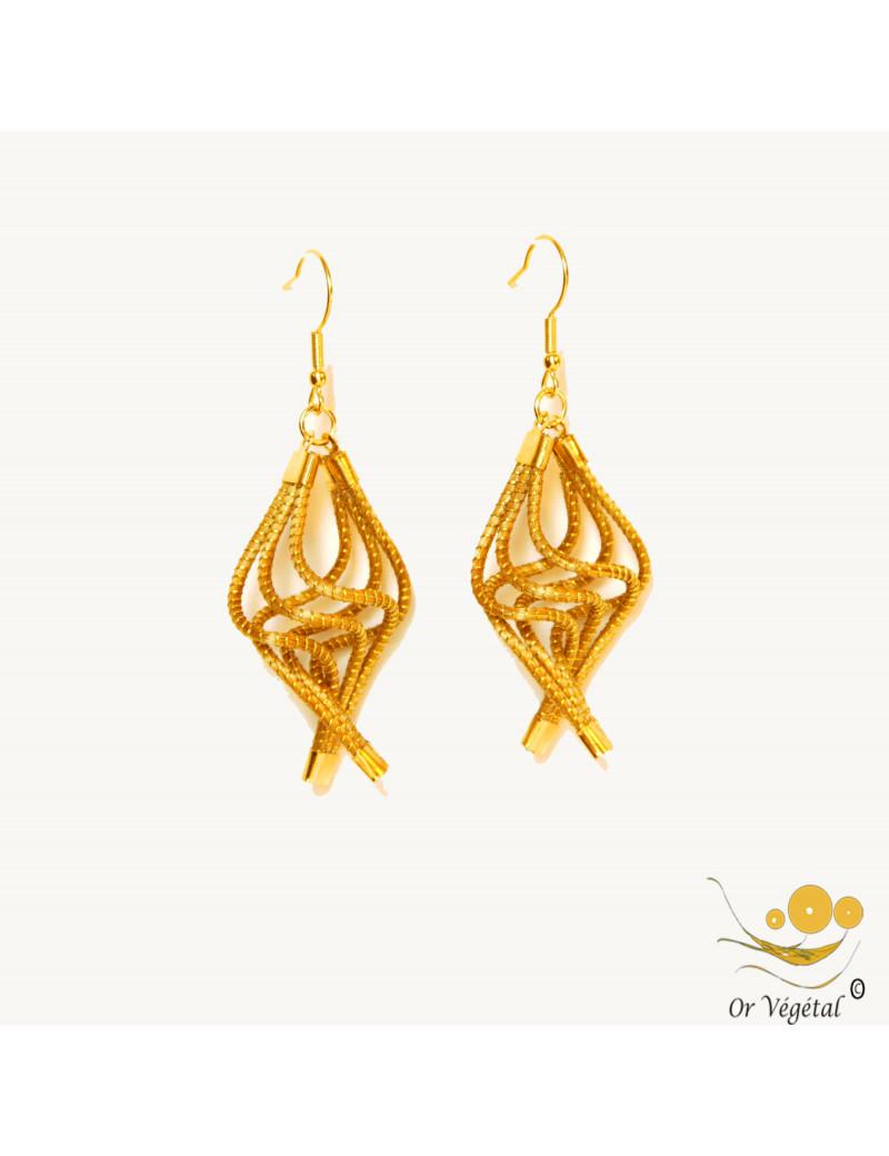 Boucles d'oreilles en or végétal en 6 tiges torsadées avec plaqué or