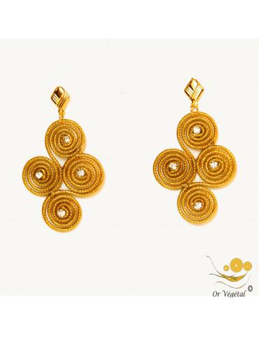 Boucles d'oreilles en or végétal cerclé en losange de 4 spirales