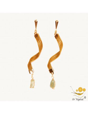 Boucles d'oreilles en or végétal cerclé en torsade & pierre AVENTURINE