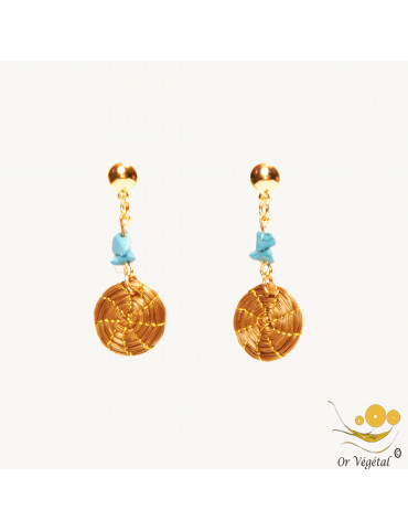 Boucles d'oreilles en or végétal en petit mandala avec turquoises