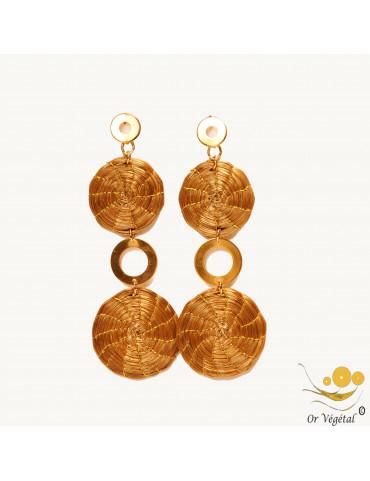 Boucles d'oreilles en or vegetal en forme de  double mandala allongé