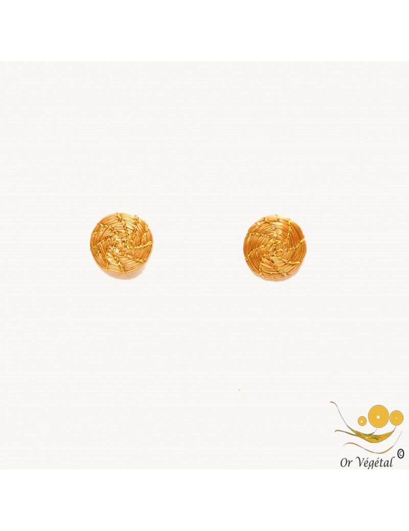 Boucles d'oreilles en or végétal tressé en mandala miniatures