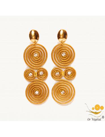 Boucles d'oreilles cerclés en or végétal 2 doubles spirales attachées