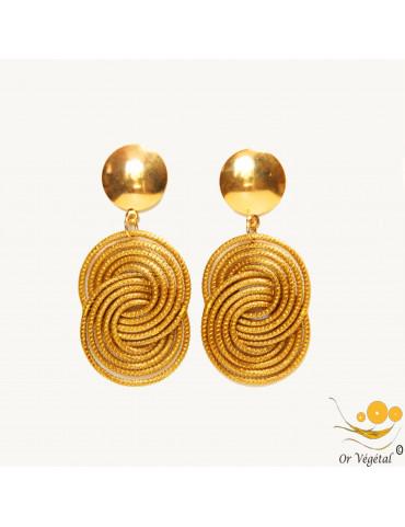 Boucles d'oreilles en médaillon formé par deux cercles entrelacés