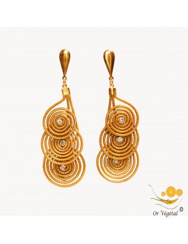 Boucles d'oreilles en or végétal cerclés en forme de trois cercles