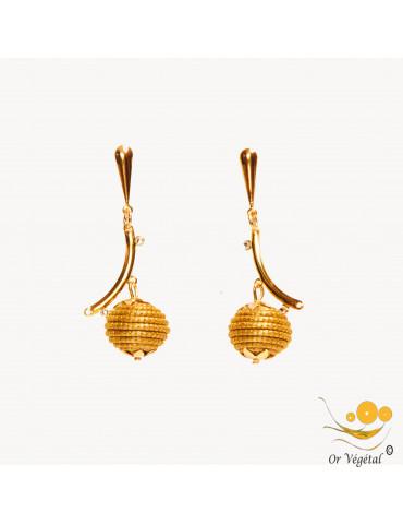 boucles d'oreilles en or végétal cerclées en forme de sphère