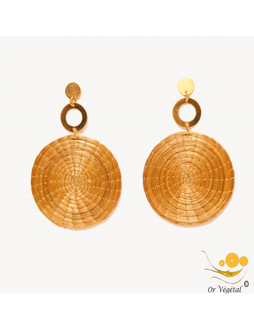 Boucles d'oreilles en or végétal tressé en forme de mandala