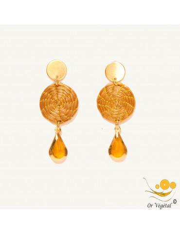 Boucles d'oreilles en or végétal en forme de mandala & décoration en goutte