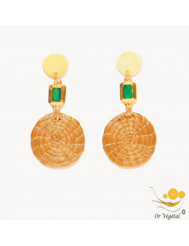 Boucles d'oreilles en or végétal en mandala & décoration imitation émeraude