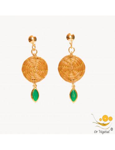 Boucles d'oreilles en or végétal mandala & décoration imitation émeraude