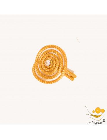 Bague en or végétal cerclé en forme de SPIRALE & STRASS
