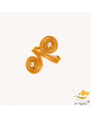 Bague  en or végétal en forme de double spirale allongée