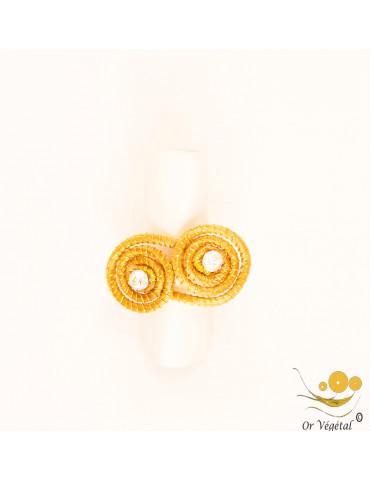 Bague en or végétal cerclé en forme de spirale en va et viens & strass