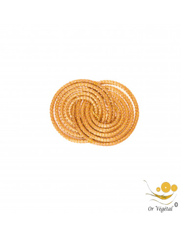 Broche  en or végétal cerclé en forme de médaillons entrelacés