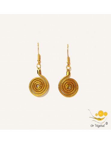 Boucles d'oreilles en or végétal cerclés  en forme de spirale