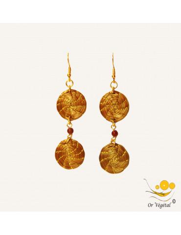 Boucles d'oreilles en or végétal avec deux mandalas et pierre semi précieuse