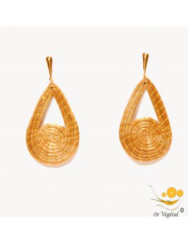 Boucles d'oreilles tressées en or végétal en forme de goutte mixte