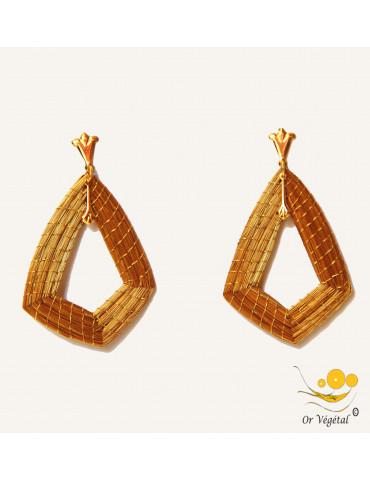 Boucles d'oreilles en or végétal tressé en forme de losange