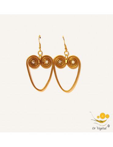 Boucles d'oreilles en or végétal cerclé forme de coeur spirales & strass