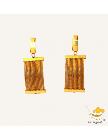 Boucles d'oreilles en or végétal cerclées  en rectangles concaves
