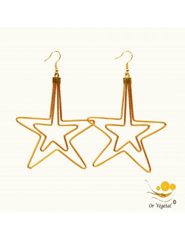 Boucles d'oreilles en or végétal cerclé en forme de double étoile XXL