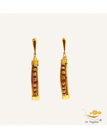 Boucles d'oreilles cerclés en or végétal allonges avec strass