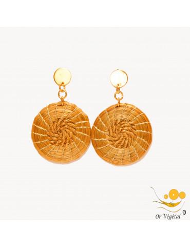 Boucles d'oreilles en or végétal en forme de mandala double tressage