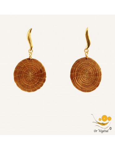 Boucles d'oreilles en or végétal en forme de mandala