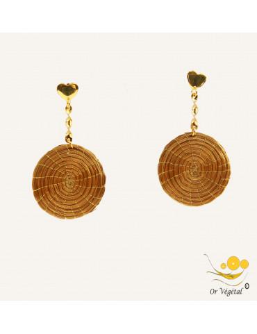 Boucles d'oreilles en or végétal en mandala et tige vrillée en plaqué or