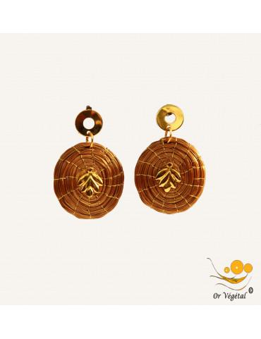 Boucles d'oreilles en or végétal tressé en forme de mandala & décoration