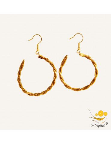 Boucles d'oreilles en or végétal cerclées en forme de créole torsadée