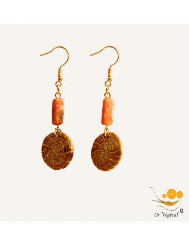 Boucles d'oreilles en or végétal tressées en mandala & quartz