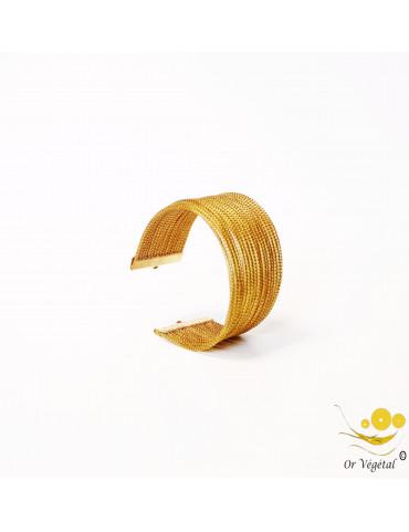 Bracelet rigide en or végétal cerclé 17 lignes & décoration plaqué or