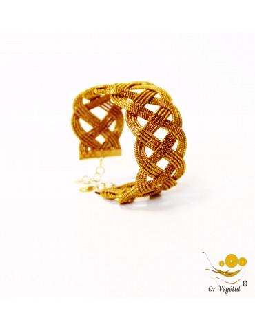 Bracelet en or végétal cerclé large 12 lignes entrelacés en trois