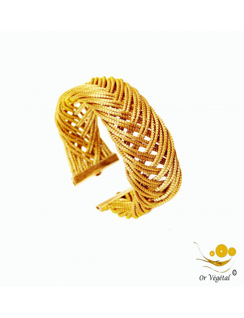 Bracelet en or végétal cerclé large 16 lignes entrelacés en flèche