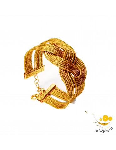 Bracelet en or végétal large 12 lignes cerclé en forme de nœud de huit