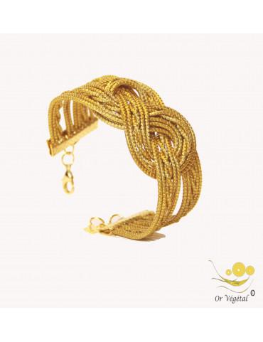 Bracelet en or végétal cerclé & double tressage en forme de nœud
