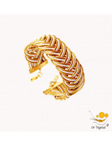 Bracelet en or végétal cerclé & entrelacé en flèche avec macramé blanc
