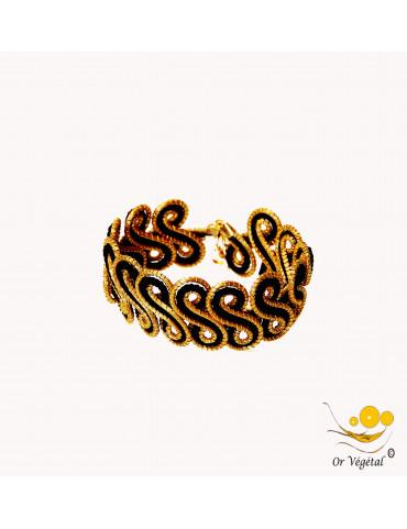 Bracelet en or végétal cerclé & macramé noir en arabesque double spirale