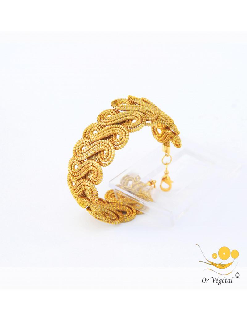 Bracelet en or végétal cerclé en forme d'arabesque en double spirale