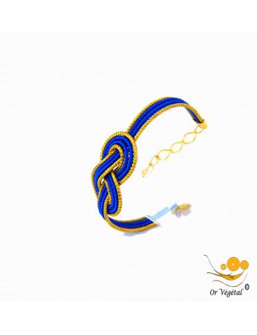 Bracelet en or végétal cerclé en forme de nœud de huit avec macramé