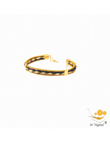 Bracelet en or végétal cerclé avec tressage en cuir noir & doré