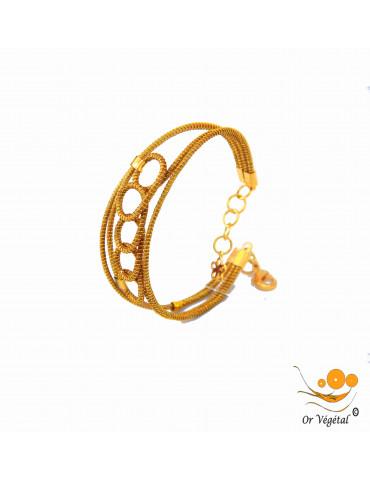 Bracelet en or végétal cerclé & décoration en arabesque