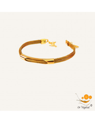 Bracelet en or végétal cerclé & décoration plaqué or
