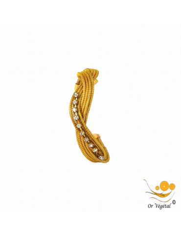 Bracelet en or végétal cerclé 8 lignes entrelacées avec strass